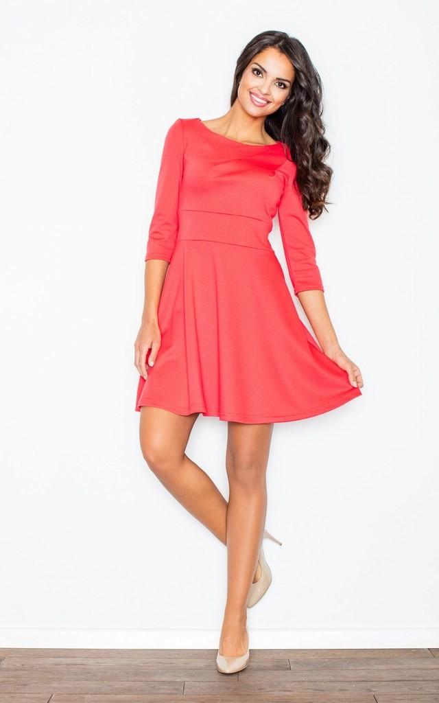 Coral 3/4 Sleeve Flared Dress by FIGL