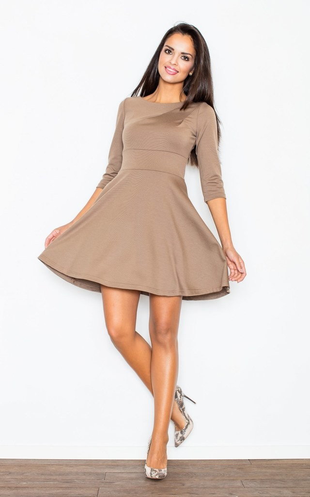Mocca 3/4 Sleeve Flared Dress by FIGL