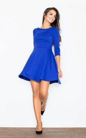 Blue 3::4 sleeve flared dress by FIGL Product photo