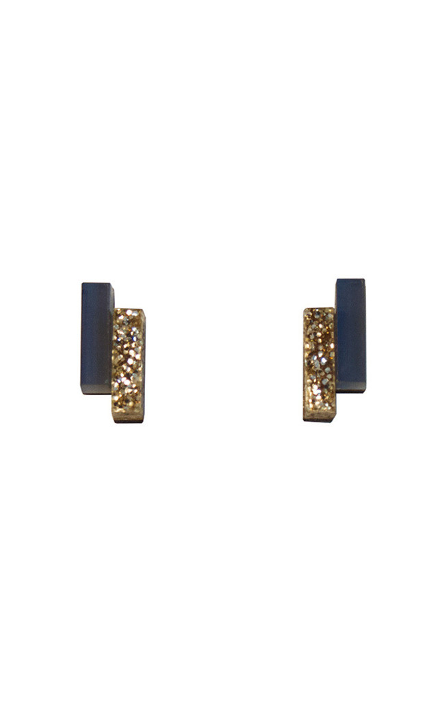 Shift Studs - Navy/Gold Glitter by Wolf & Moon