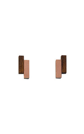 Shift Studs - Wood/Copper by Wolf & Moon