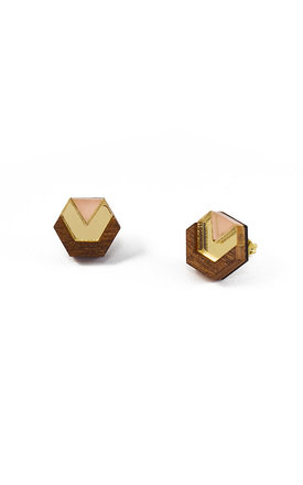Little Hex Studs - Wood/Gold/Peach by Wolf & Moon