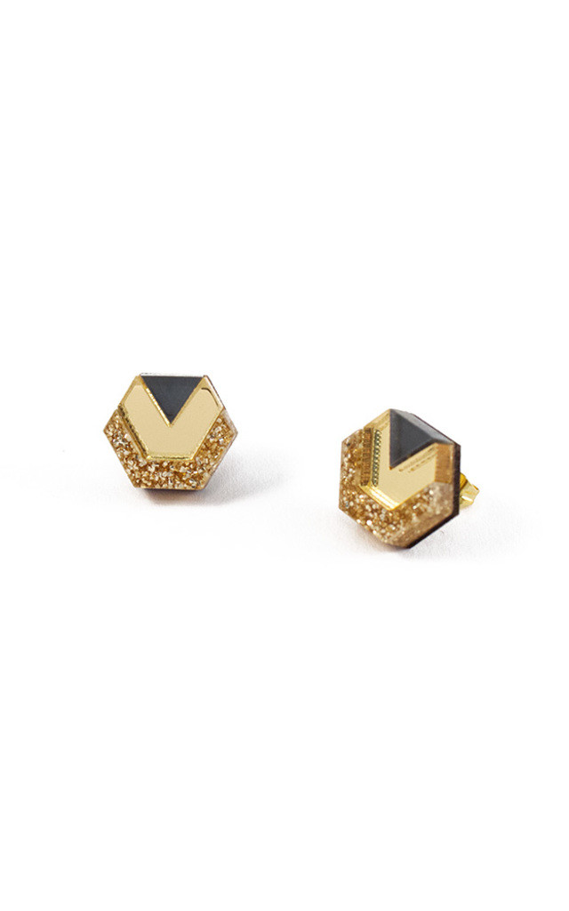 Little Hex Studs - Gold Glitter/Gold/Navy by Wolf & Moon