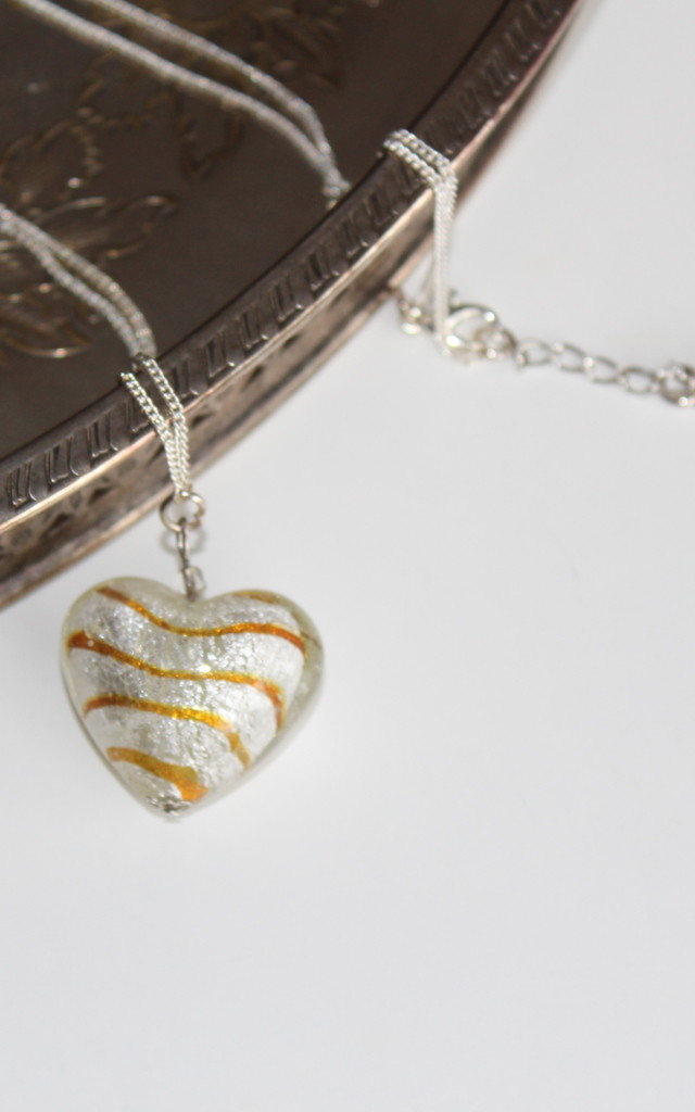 Heart glass charm silver necklace 12 inches by 16 Braunton