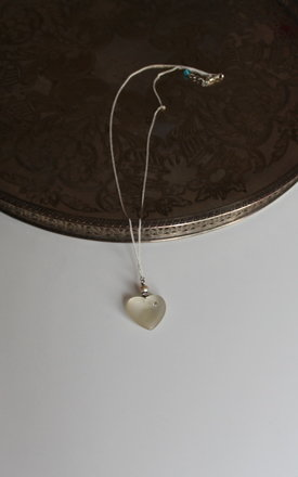 Pearl heart charm necklace 12 inches by 16 Braunton