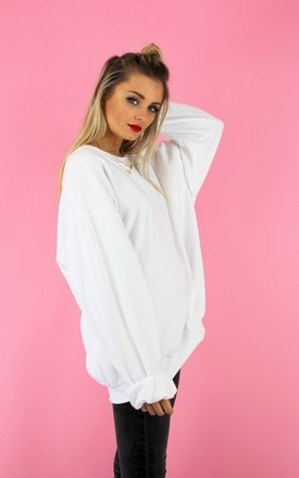 Oversized white boyfriend sweater by Cats got the Cream Product photo