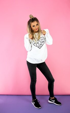 'i like cats' jumper white  by Cats got the Cream Product photo