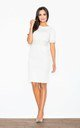 Midi dress with leather waistband in white by FIGL