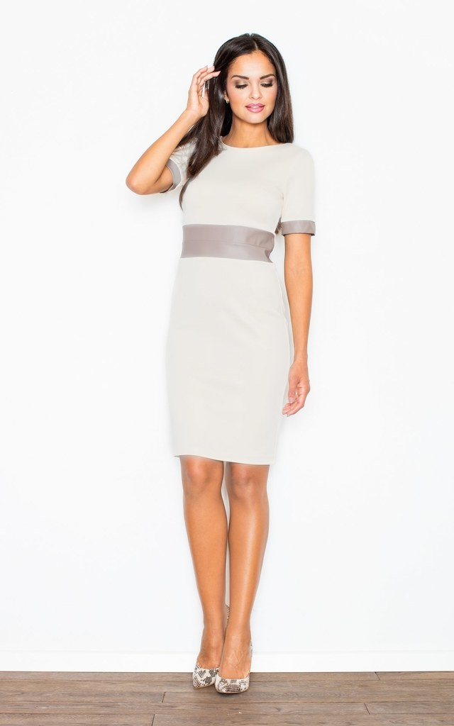 Beige Knee Long Dress with Eco-Leather Inserts on Sleeves and Eco-Leather Waistband by FIGL