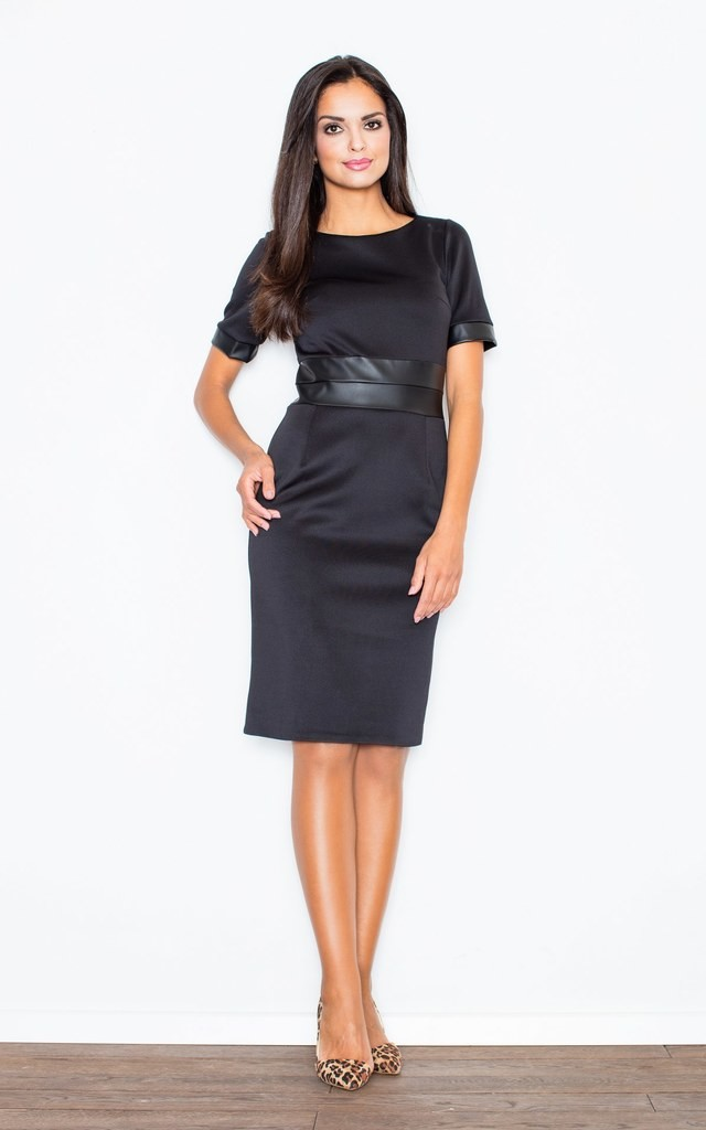 Black Knee Long Dress with Eco-Leather Inserts on Sleeves and Eco-Leather Waistband by FIGL