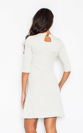 Beige Midi Ecru 1/2 Sleeves Dress by FIGL