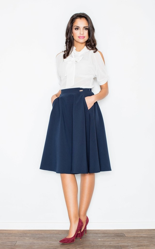 Navy Blue Knee Length A Line Skirt - SilkFred