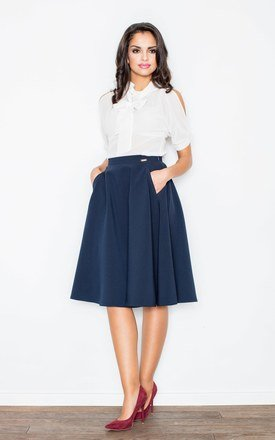 Navy blue knee length a- line skirt by FIGL Product photo