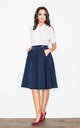 Navy Blue Knee Length A- Line Skirt by FIGL