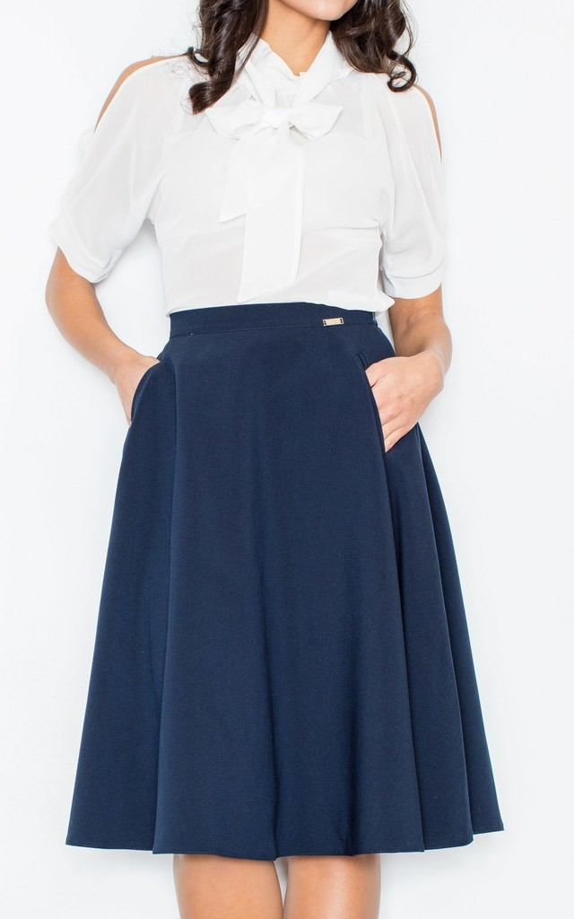 navy blue knee length a line skirt silkfred