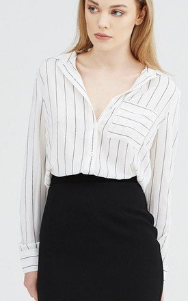 Lexie white and black stripe shirt by UNIQUE21 Product photo