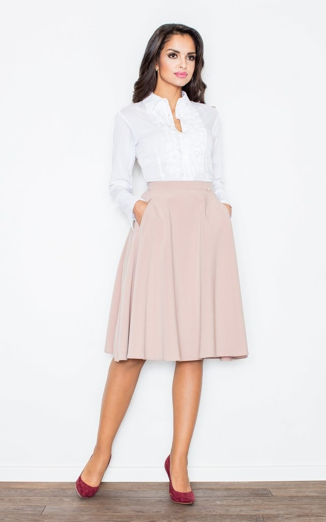 Pink Knee Length A- Line Skirt by FIGL