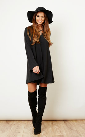 Black Cross Front Swing Dress by Glamorous Product photo