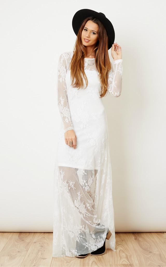 White Lace Long Sleeve Maxi Dress by Glamorous