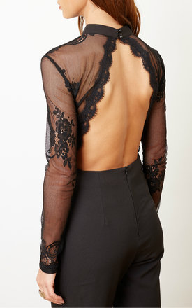 Black Sheer Lace Mesh Jumpsuit by Glamorous