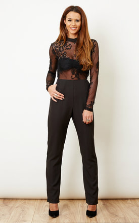 Black sheer lace mesh jumpsuit by Glamorous Product photo