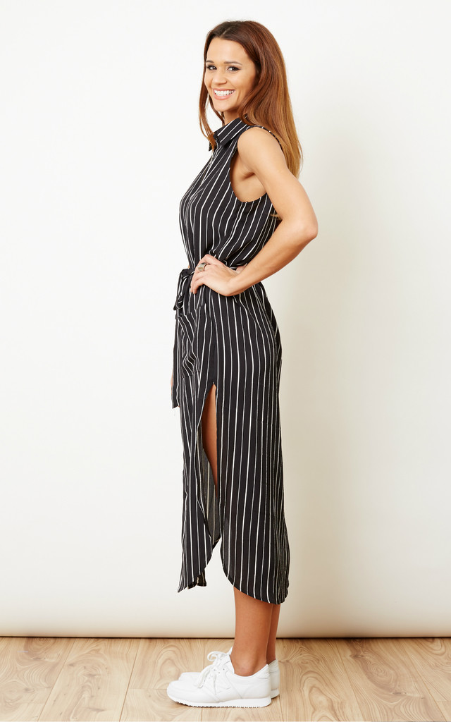 Black and White Striped Midi Shirt Dress by Glamorous