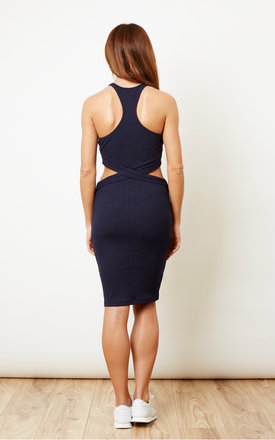 Navy Side Cut Out Dress by Glamorous