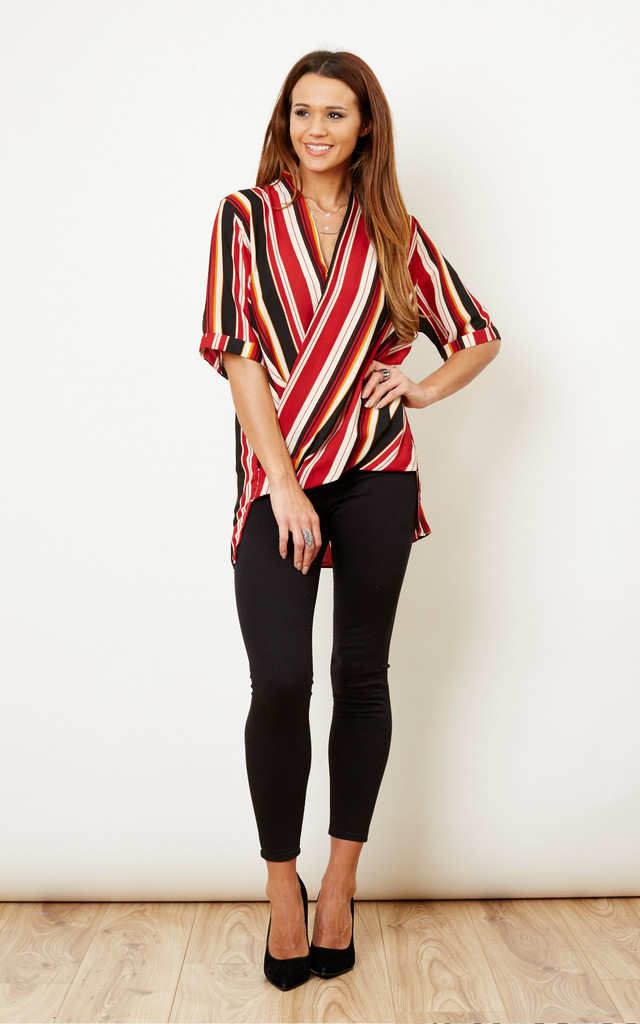 Red and Orange Wrap Over Blouse by Glamorous