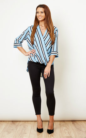 Blue And Black Stripe Cross Over Blouse by Glamorous Product photo