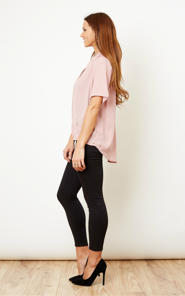 Dusky Pink Short Sleeve Wrap Over Blouse by Glamorous