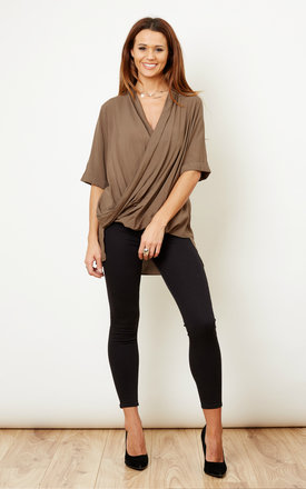 Khaki wrap dipped hem top by Glamorous Product photo
