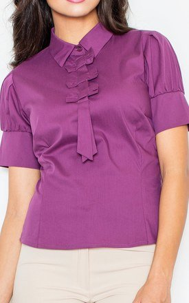 Aubergine Petite Collared Vintage Bow Neck Short Sleeve Shirt by FIGL