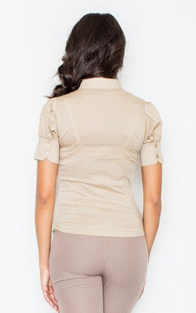 Beige Petite Collared Vintage Bow Neck Short Sleeve Shirt by FIGL