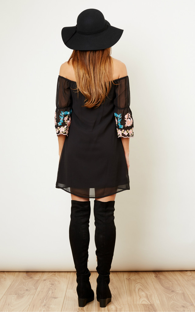 Black Embroidered Bardot Dress by Glamorous