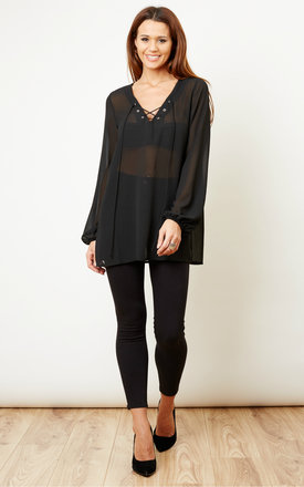 Black Lace Up Sheer Blouse by Glamorous Product photo