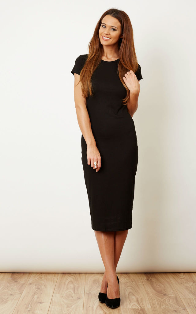 Cap Sleeve Midi Dress Black Lilah Rose Silkfred