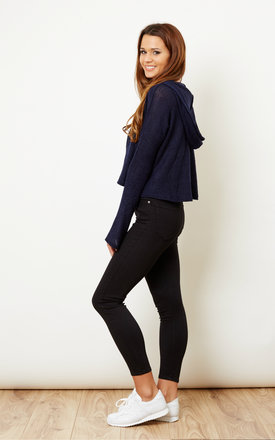 Navy Cropped Knitted Hoodie by Glamorous