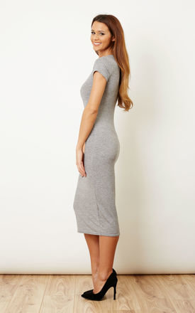 Cap Sleeve Midi Dress Silver by Bella and Blue