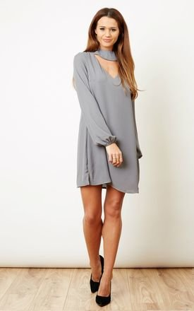 Grey choker key hole cut out dress  by Lilah Rose Product photo