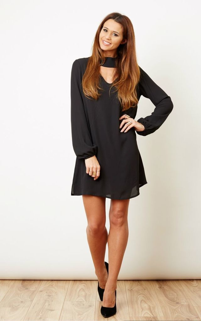 Black Choker Key Hole Cut Out Dress Silkfred
