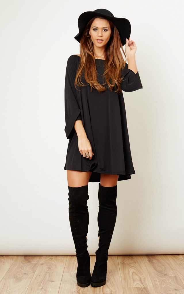 Black Off the Shoulder Swing Dress by Glamorous