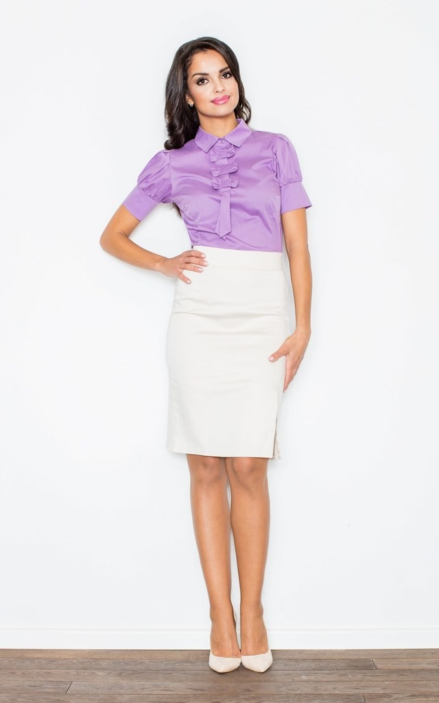 Light Violet Petite Collared Vintage Bow Neck Short Sleeve Shirt by FIGL