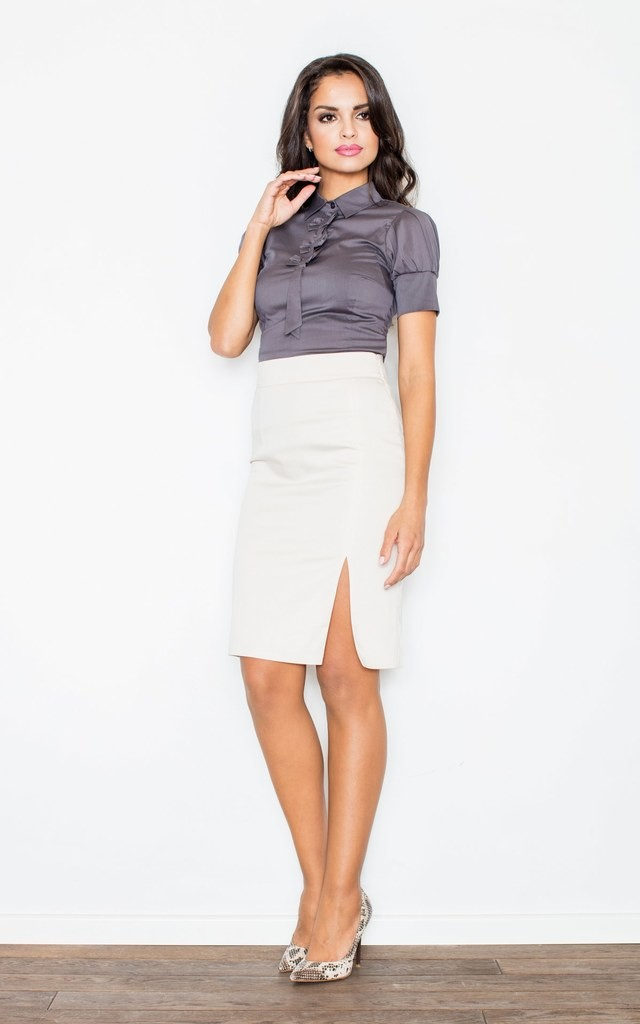 Grey Petite Collared Vintage Bow Neck Short Sleeve Shirt by FIGL