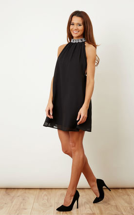 Black Embellished Chiffon Dress by Glamorous