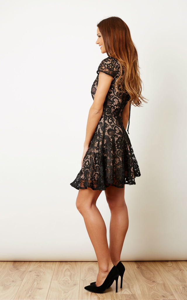 Black and Nude Lace Skater Dress by Glamorous