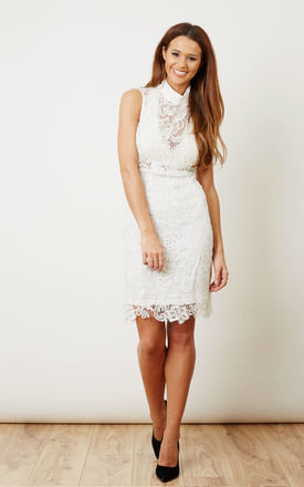 White Lace High Neck Dress by Glamorous