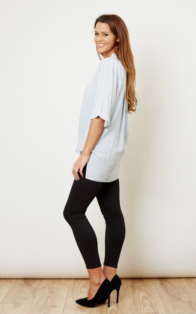 Blue Dipped Hem Wrap Top by Glamorous