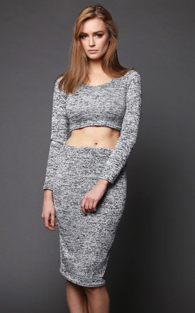 Grey Knitted Crop Top & Midi Skirt Set by Jezzelle