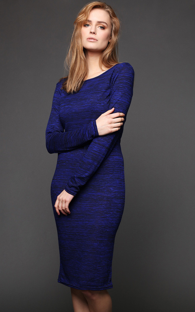 KNITTED LONG SLEEVE MIDI DRESS by Jezzelle