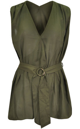 Khaki crepe wrap over blouse with circular metal buckle belt by Influence Fashion Product photo